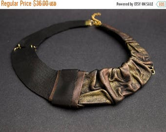 40% OFF SALE Elegant Leather necklace Bib necklace Collar. Copper and gold color Statement jewelry