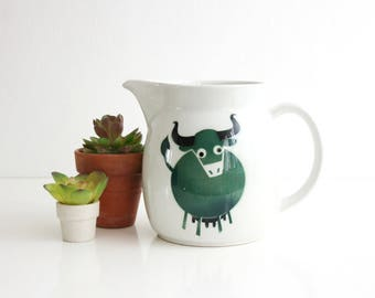 Mid Century Modern Arabia Finland Heluna Pitcher by Kaj Franck / Arabia Bull Pitcher / Arabia of Finland Green Cow Pitcher
