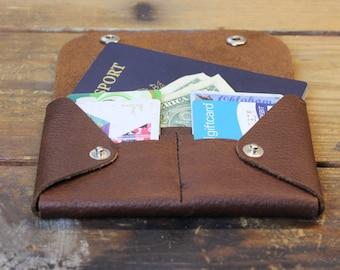 leather wallet - travel wallet - womens wallet - passport wallet - snap wallet - moleskin wallet