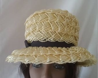 Vintage 60's Woven Plastic Straw Hat Yellow and Black