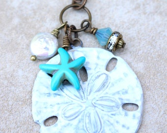 Sand dollar necklace, Beach treasures necklace, Sand dollar and star fish necklace, Beach charms necklace, Bohemian Style Necklace