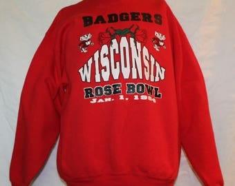 Vintage UW Wisconsin Rose Bowl RED Sweatshsirt, Size XL, 1994