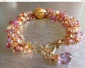 Reserved for Mary-Summer Sale Chunky Gemstone Cluster and Gold Filled Adjustable Bracelet
