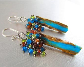 25 % OFF Peruvian Blue Opal Slices With Vesuvianite, Neon Blue Apatite, And Hessonite Garnet Oxidized Sterling Earrings