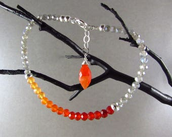 25 OFF Ombre Carnelian With Mystic Labradorite Stacking Bracelet