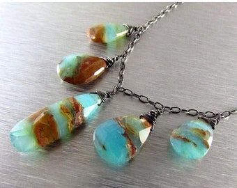 25 OFF Peruvian Opal And Oxidized Sterling Silver Necklace