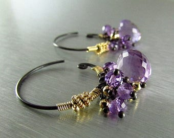 25 OFF Amethyst Hoop Swirl Earrings