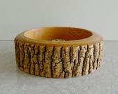 wood slice nut bowl, midcentury nut bowl, carved with bark, mcm serving ware, vintage holiday decor, vintage nut bowl, party snack server