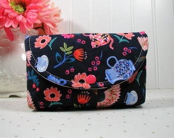 Snap Pouch, Large Snap Pouch, Cosmetic Pouch, Accessory Pouch, Feather Pouch.. Tea Party Floral in Navy, Rifle Paper Co, Wonderland