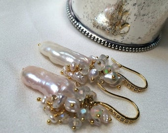 30% SALE Pearl Opal Earrings Wire Wrap Biwa Pearl Keishi Ethiopian Opal Cluster Earring Sterling Silver Gold Vermeil Boho Beach Bride Weddin