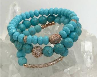 Stretch Bracelet Stack Bracelet Turquoise Bracelet Round Rose Gold CZ Bead Boho Bracelet Stretch Layering Beach Bracelet Turquoise Bracelet