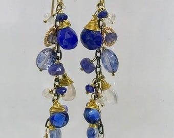 SUMMER SALE Blue Dangle Earrings Blue Lapis Earrings Kyanite Jewelry Wire Wrap Gold Fill  Chain Dangle Minimalist Jewelry Blue White Black G