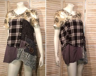 Upcycled Tunic Junk Gypsy Primitive Patchwork Pocket Upcycled Clothing L XL Loose Fit Babydoll Eco Shirt primitive chic DeviDesigns