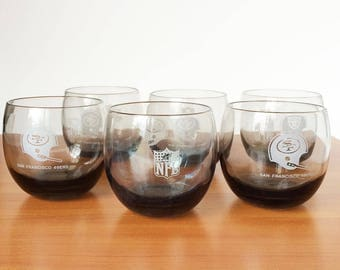 Set of Six Vintage San Francisco 49ers Football Smoked Glasses 1970's, Super Bowl Roly Poly Drinking Cocktail Glasses