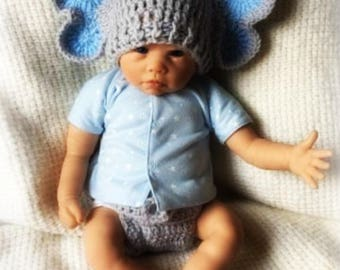 Elephant baby set/Newborn Elephant Set/Baby Boy Gift/Baby shower gift/Ready to ship/Diaper Cover/Crochet hat/Hat and Diaper Cover/