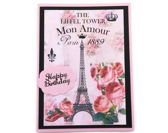 Paris Card, Eiffel Tower Greeting Card, French Birthday Card,  Pink Shoe,Congratulations,French Vintage Shabby Pink Roses Card-Australia