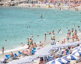 Italy Photography, The Italian Riviera, Cinque Terre, Monterosso, Italy, beach photography, Italian home decor, blue umbrellas, summer