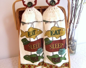 Crochet Kitchen Towels - Dish Towels - Hanging Hand Towels - Eat Sleep Fish