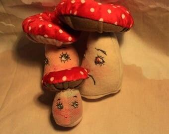 mushroom family, soft sculpture,plushy art.