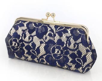 HALF PRICE SALE Champagne and Navy Peony Lace Bridal Clutch + gold frame | Bridesmaid Clutch - ready to ship