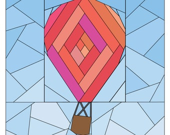 Hot Air Balloon Pattern - Rise Above Add-on: Log Cabin  - Paper Piecing Quilt Pattern - #258 PDF