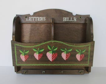 Wood Wall Mail Letters Bills Organizer and Key Holder