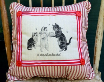 French cat and kitten | French Country Decor | Farmhouse Decor | Linen Print | Distressed Shabby Chic Frame | French Cat/Kitten Art