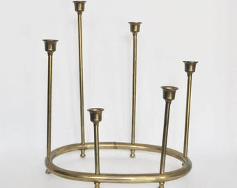 Graduated Height Brass Candelabra on Oval Base