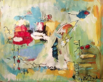 Whimsical shapes and forms abstract painting expressive colorful art  home decor interior design decoration, titled Jules Vern on Vacation.