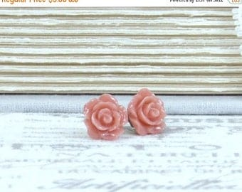 Pink Rose Earrings Pink Flower Studs Rose Stud Earrings Pink Flower Earrings Hypoallergenic
