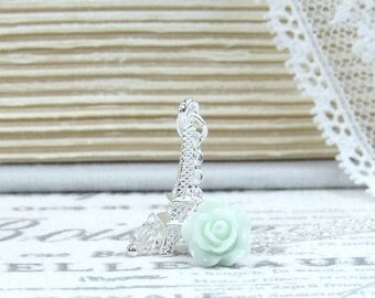 Silver Eiffel Tower Necklace Shabby Chic Necklace Eiffel Tower Jewelry Paris Necklace French Necklace
