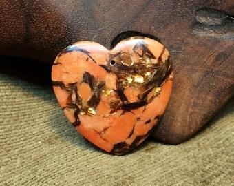 Eye-catching Bornite & Orange Turquoise Heart