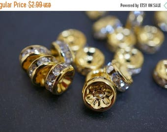 SUMMER SALE 18K Gold Plated Rhinestone Rondelle Spacers (Straight Round)  - 8mm - 12 pcs
