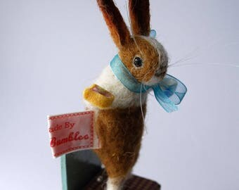 Original Needle Felted Pale Ginger Dutch Bunny with Tiny Teacup and slice of Battenberg Cake