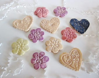 Craft tiles, heart tiles, flower tiles, mosaic tiles