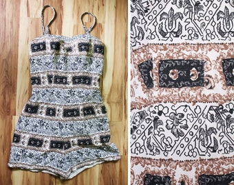 Vintage 1950s Novelty Print Playsuit Romper Swimsuit / By Designer Rose Marie Reid / Size Small
