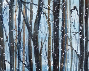 Original Fine Art Watercolor A Forest Of Trees In The Winter, Blue Skies, Bright Light With A Happy Owl & Red Cardinals by Janet Dosenberry