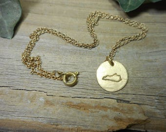 Brass Kentucky state necklace