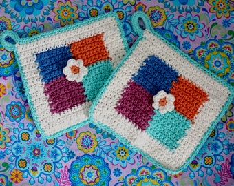 Checked Potholders Thick Crochet Hot Pads Pot Holders Pastel Aqua Coral Blue Pink Flower Center Set of Two