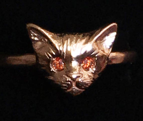 Rose Gold Kitty Cat Ring with Red or White Diamond Eyes
