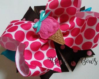 Ice Cream Cone Birthday Layered Hair Bow, Ice Cream Social Birthday Collection, Birthday Hair Bow, First Birthday Bow, Spikey Hair bow