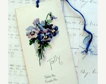 ONSALE Antique  Pansies Stunning Lithograph Tally Card