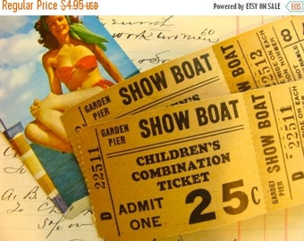 ONSALE Vintage Nautical Double Sided Two part Show Boat Tickets