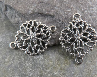Sterling Silver Antique Lace Links - Vintage Replica - One Pair - Artisan Sterling Silver - Artisan Sterling Links - lall