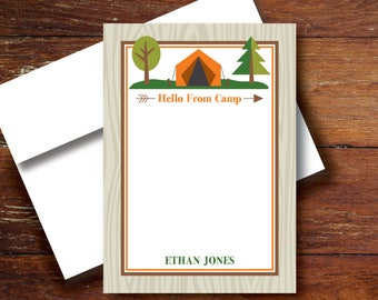 Camp Notecards, Camp Stationery, Summer Camp, Personalized Stationery for Children going to Camp