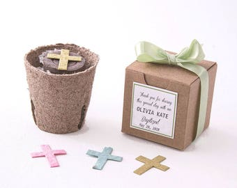 12 Plantable Seed Paper Cross Flower Pot Favors - Baptism Favors, Christenings, First Communions - Personalized for Baby Boys & Baby Girls