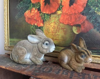 Vintage Rabbits Set of 2 Bunnies Brown Gray Fuzzy