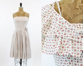 50s Dress with Capelet XS / 1950s Cotton Dress Print Full Skirt  /  Paisley and Gears Dress