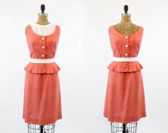 50s Dress Linen Large  / 1950 Vintage Dress Linen Peplum / Sorority Sister Dress