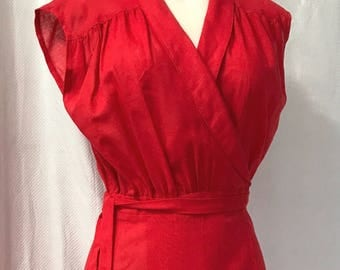 1970s Vintage Coral Red Young Edwardian Wrap Dress M